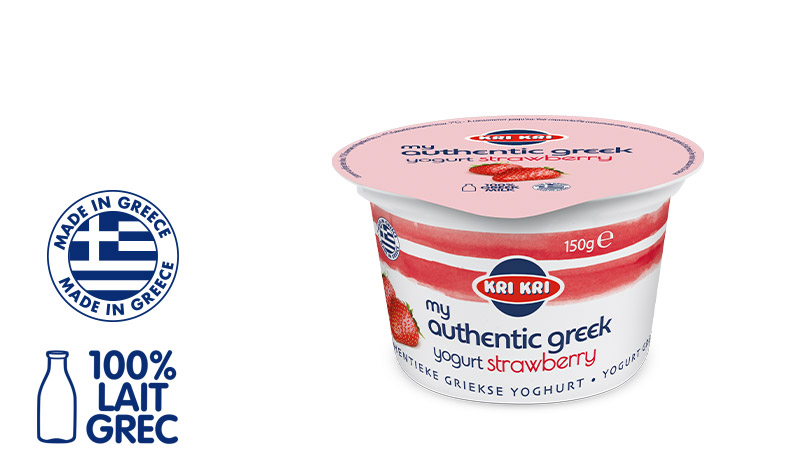My Αuthentic Greek yogurt Yaourt Grec Maigre 0% m.g. aux Fraises 150g