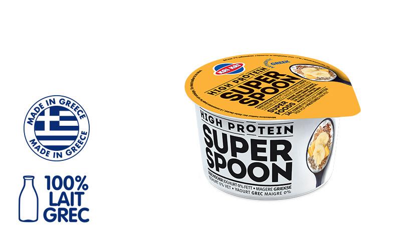 Superspoon Yaourt Grec 0% m.g. aux Superfruits Jaunes et Céréales (avec de Banane, Mangue, au Lin et aux Céréales) 170g