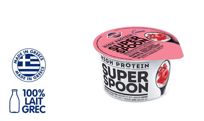Superspoon Yaourt Grec 0% m.g. aux Superfruits Rouges (avec des morceaux de Framboise, Grenade, Gojiberry) 170g