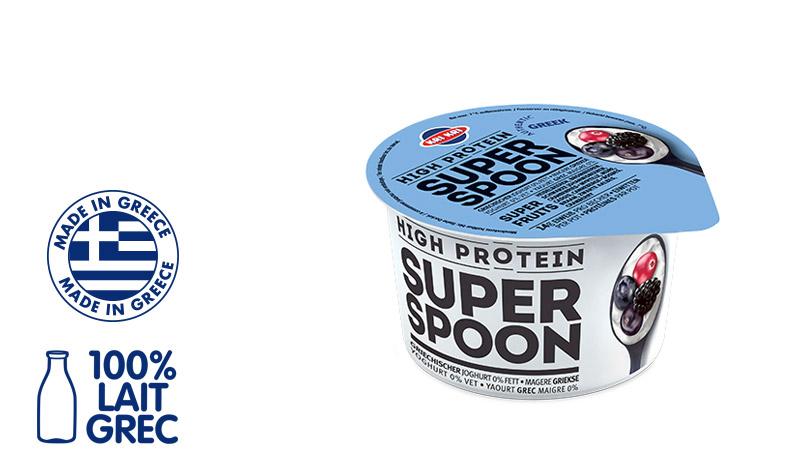 Superspoon Yaourt Grec 0% m.g. aux Superfruits Bleus (avec des morceaux de Myrtille, Mûre, Cassis, Canneberge) 170g